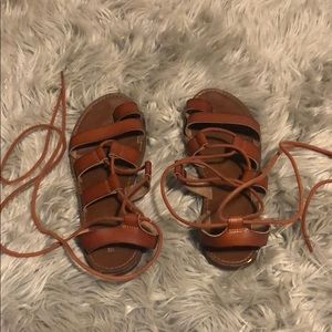 Brown lace up sandals